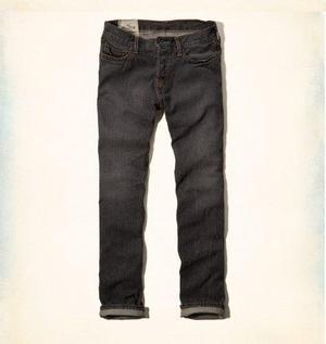 Jeans Hollister Slim Straight Gris Importado Eeuu Talla 32
