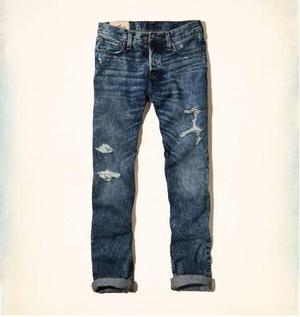 Jeans Roto Hollister Abercrombie Skinny Importado De Eeuu 32