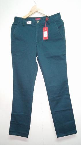 Pantalon Izod Varon Nuevo Talla 30 Slim Tape Dril Esmeralda