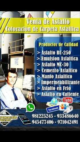 Venta De Asfalto Rc 250 - Mc 30 /emulsion Asfaltica Premium
