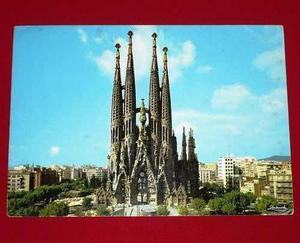 Antigua Postal Barcelona Templo De La Sagrada Familia