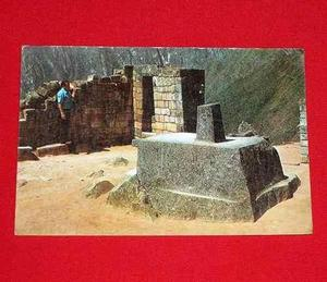 Antigua Postal Intihuatana De Pisac Cusco Perú Inca Color
