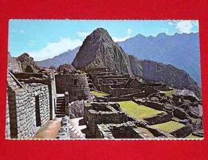 Antigua Postal Machu Picchu Templo Del Sol Y Huayna Picchu