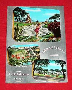 Antigua Postal Miraflores Lima Parque Salazar Bajada Balta