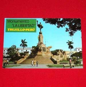 Antigua Postal Monumento Libertad Plaza Armas Trujillo Perú