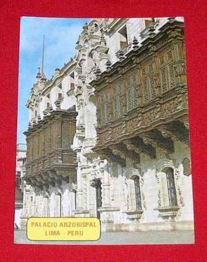 Antigua Postal Palacio Arzobispal Lima Plaza De Armas Color