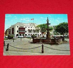 Antigua Postal Palacio Municipal Lima Perú Pileta Plaza