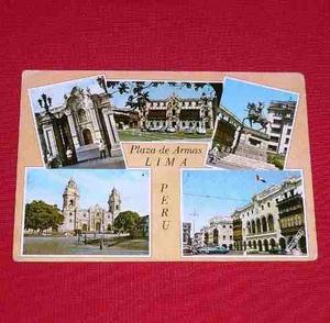 Antigua Postal Plaza De Armas Lima 5 Vistas Swiss Foto 1963