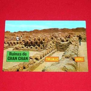 Antigua Postal Ruinas De Chan Chan Trujillo Perú 1985 Color