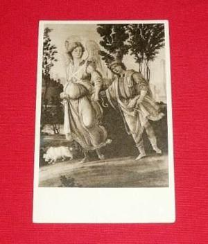Antigua Postal Tobías Y El Angel Filippino Lippi Sepia Arte