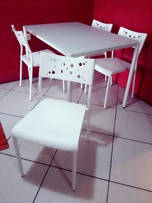 Juego De Comedor Mesa + 4 Sillas