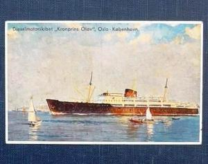 Postal Antigua Buque Kronprins Olav Noruega 1938 Barco