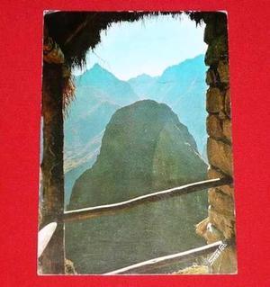 Postal Antigua Machu Picchu Amanecer Ruinas Swiss Foto 1971