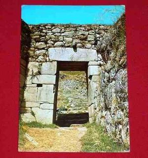 Postal Antigua Machu Picchu Entrada Principal Swis Foto 1977
