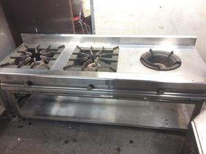 Cocina de 2 hornillas wok a a gas posot class for Cocina wok industrial