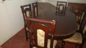 Juego de dormitorio de caoba tallado a mano 2 posot class for Juego de comedor madera 6 sillas