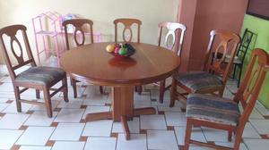 Juego comedor 1 base y 6 sillas madera cedro posot class for Juego comedor madera 6 sillas