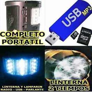 Radio Parlante Mp3 Usb Linterna Y Lampara Led Fijo Portatil