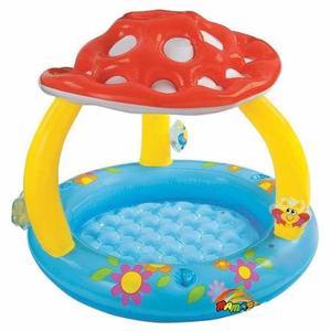 Piscina Honguito Para Bebes Con Techo Parasol Playa Jardin