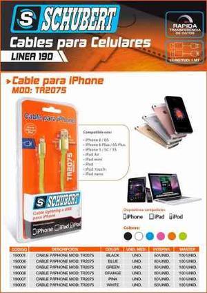 Cable Usb Lightning Para Iphone 5 6 Y 7 Plus Schubert 1m