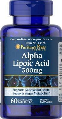 Acido Alpha Lipoic 300mg. Puritans Pride 60 Cápsulas.