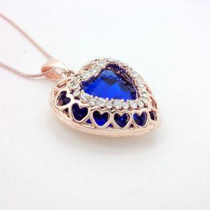 Cadena Collar Con Bonito Dije De Corazon Azul Bordes Dorados