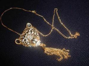 Cadena Collar De Cabesa De Leopardo En Dorado Perlas