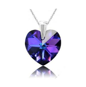 Collar Corazón Heliotrope Crystals From Swarovski Plata 925