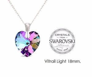 Collar Corazón Vitrail Light Cristal Swarovski Con Plata