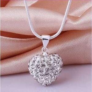 Collar De Plata Con Cristales, Dije Corazón + Caja Regalo