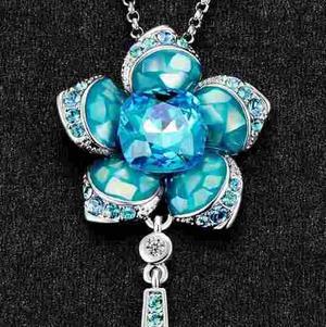 Collar Flor Rosa Con Cristal Swarovski + Envío Gratis