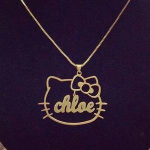 Collar Hello Kitty En Plata 950 Y Plata 950 Enchape En Oro.
