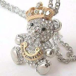 Collar Vintaje Cadena De Osito Aperlao Con Coronita De Rey