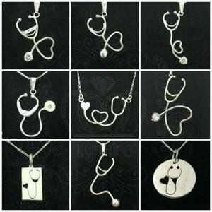 Dije Collar De Plata Estetoscopio Profesion Doctor Medico