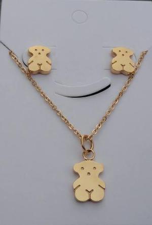 Juego Joyas Collar Aretes Modelo Oso Bear Osito Acero Oro