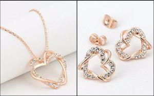 Oferta! Aretes Y Collar Corazón Oro 18k Cristales Suizo