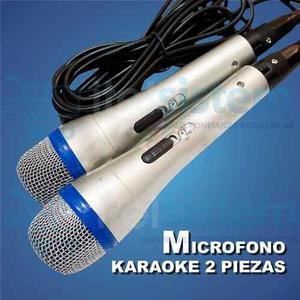 Microfono Cableado Duos Para Karaoke En Casa Itelsistem