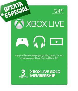 Xbox Live Gold 3 Meses Membresia Para Xbox One Y Xbox 360