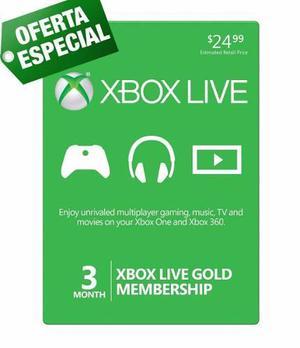 Xbox Live Gold 3 Meses Membresia Para Xbox One Y Xbox 360xbo