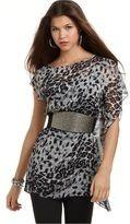 Xoxo Blusa Talla S Animal Print Color Negro Con Plomo