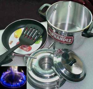 Cocina 1 Hornilla Mas Olla Y Sarten Teflon Portatil Camping