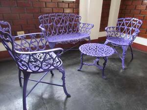 Juego De Muebles Para Jardín O Piscina En Aluminio Fundido
