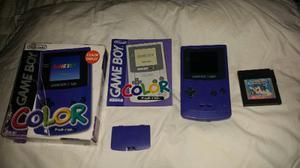 Gameboy Color Azul Con Caja Original Y Manuales Con Un Juego