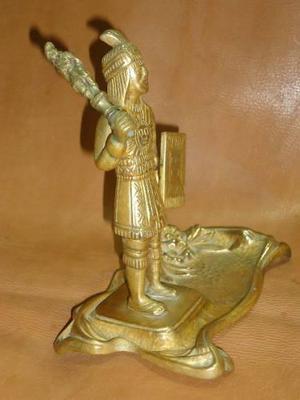 Vint.retro Escultura Guerrero Inca De Bronce Antiguo