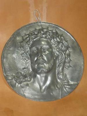 Vint.retro Placa Antigua Rostro De Jesus Jesucristo