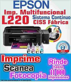 Impresora Epson L220 Sistema Fabrica Hogar Oficina 2016 Gara