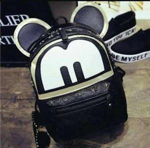Mochila Mickey Mouse Importada Cuero Negro Argentina