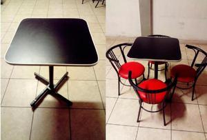 Juego de Mesas y Sillas para Bar Restaurante Snack 4 sillas