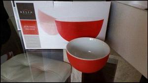 06 Bowls Belia De Porcelana & Rojo - Oferta! 42% Descuento!!
