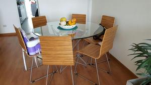 Mesa comedor vidrio templado ziyaz 6 sillas posot class for Comedor 6 personas